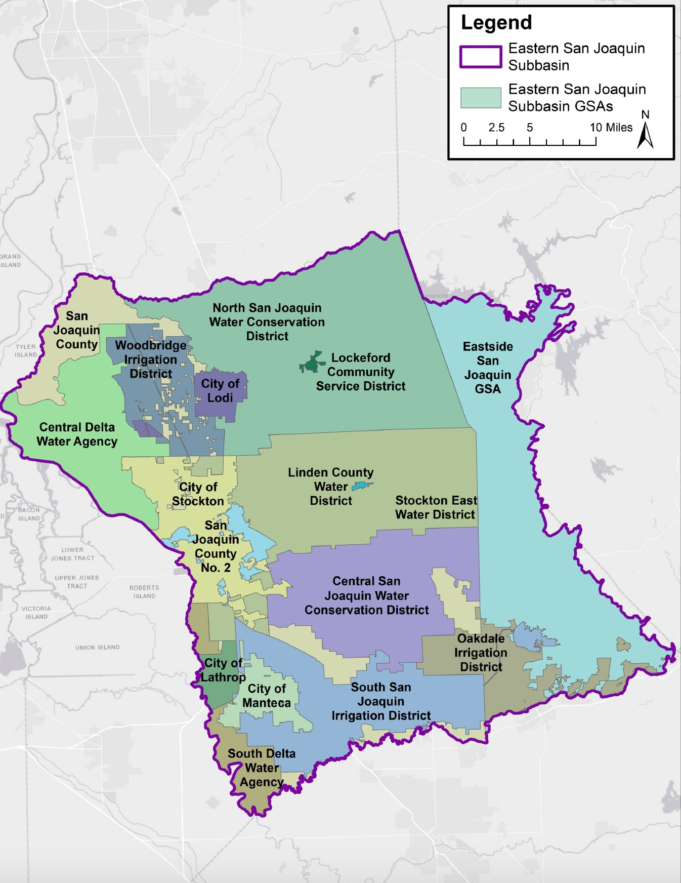 Map of the Eastern San Joaquin County