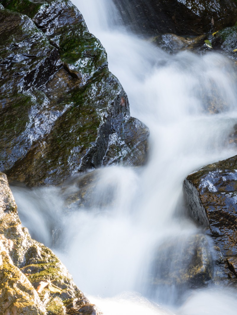 Water flowing around rocks
